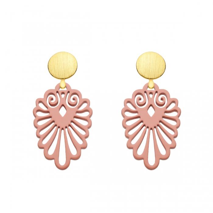 Elegante Ohrringe Gold in Rosa aus Horn mit Wechselsystem aus der Sumatra Kollektion von Romy North
