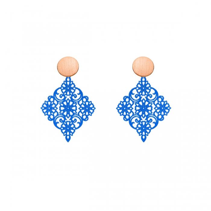 Zarte Ohrringe Blau mit Ohrstecker in Rose von Romy North