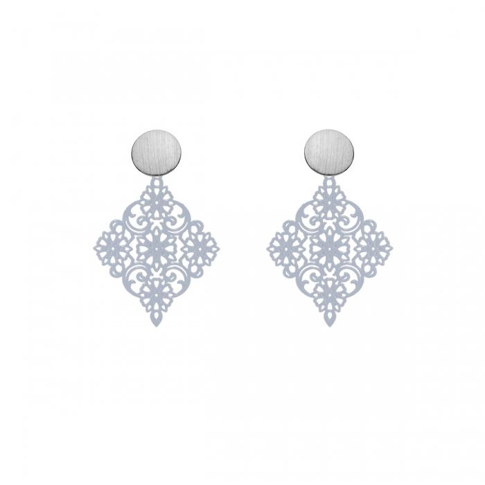 Zarte Ohrringe in Grau mit Ornamenten mit matte Ohrstecker aus Silber Romy North