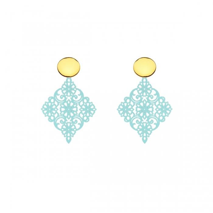 Ohrringe Stecker aus Silber vergoldet und Türkis aus der Tahiti Kollektion von Romy North