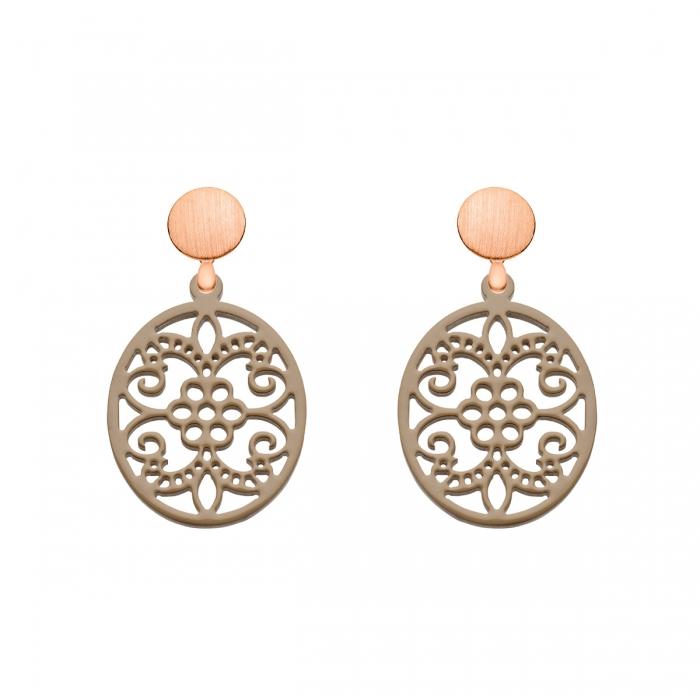 Ornament Ohrringe Damen in ovaler Form aus Horn in Braun mit matten Rosestecker aus der Hawaii Kollektion von Romy North