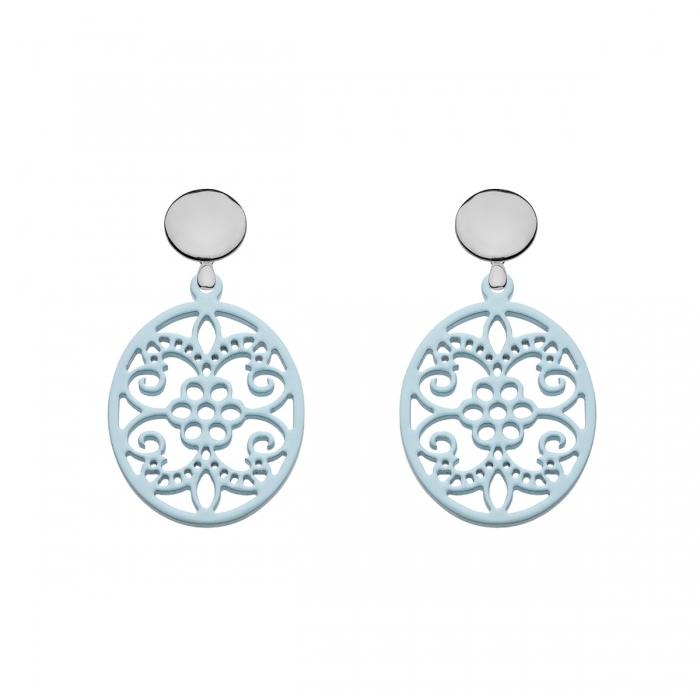 Hellblaue Ohrringe aus Horn oval mit Ornamenten von Romy North