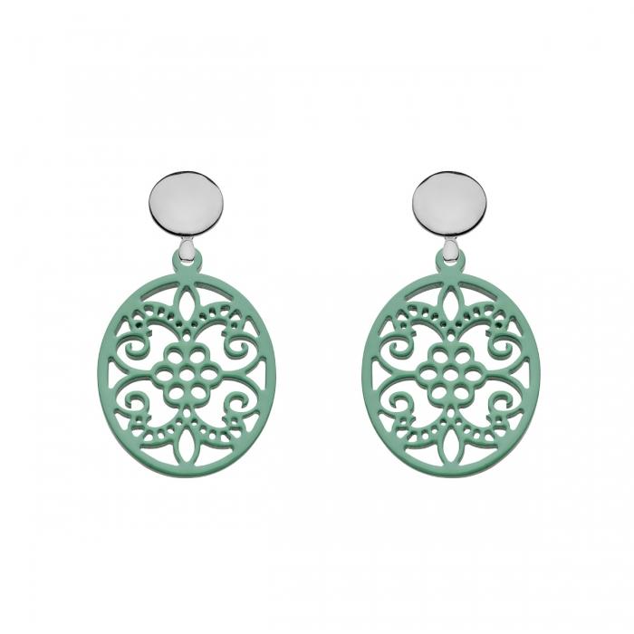 Ohrringe Jade mit Stecker und mit Ornamenten aus Horn von Romy North