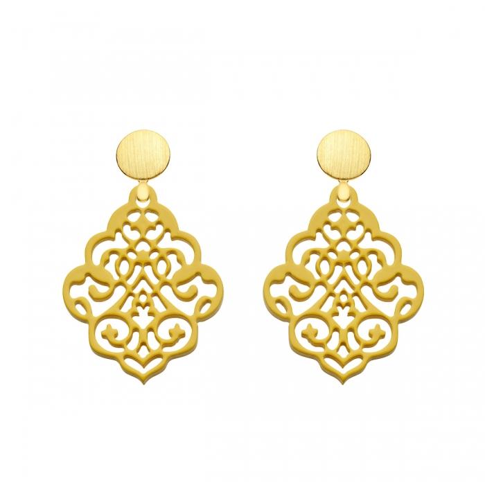 Ohrringe gelb aus Horn mit matten Goldstecker mit Ornamenten aus der Kuba Kollektion von Romy North