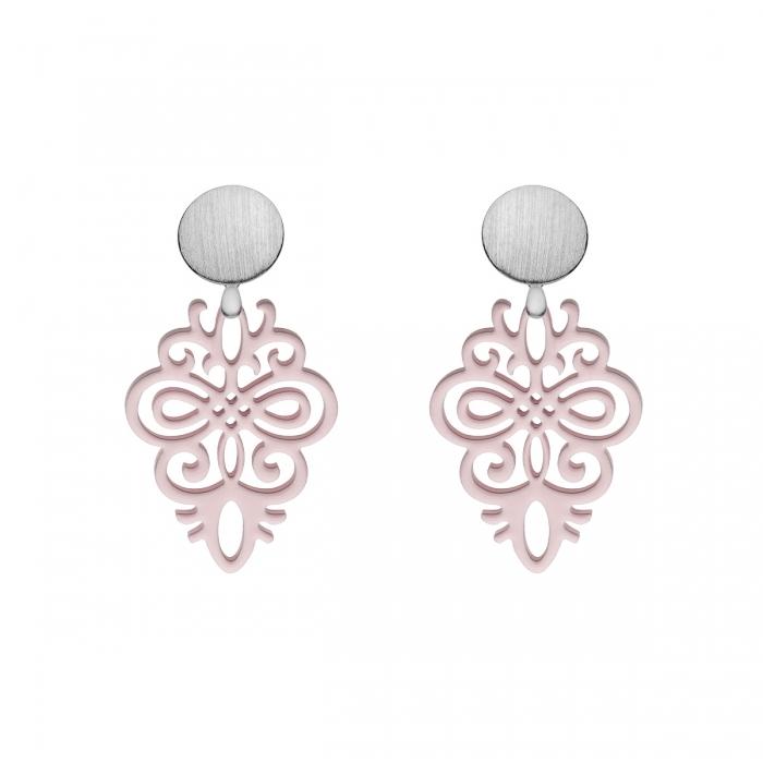 Ohrringe rosa aus Horn mit Wechselsystem in Silber matt aus der Saona Kollektion von Romy North