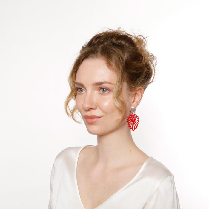 Rote Ohrringe mit Silberstecker von Romy North