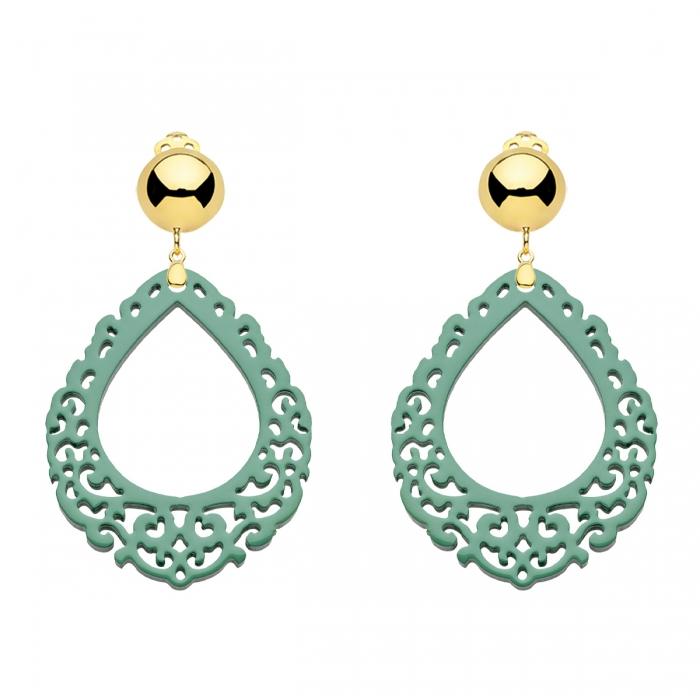 Ohrclips Jade aus Horn mit Ornamenten von Romy North aus der Salina Kollektion