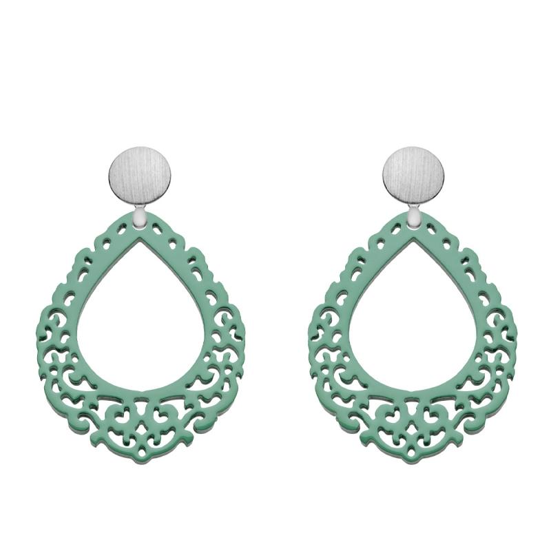 Statement Ohrringe grün aus Horn mit mattem Silberstecker aus der Salina Kollektion von Romy North