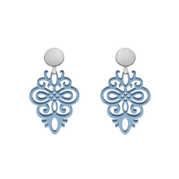 Ohrringe in Blau aus Horn mit matten Silberstecker aus der Saona Kollektion von Romy North