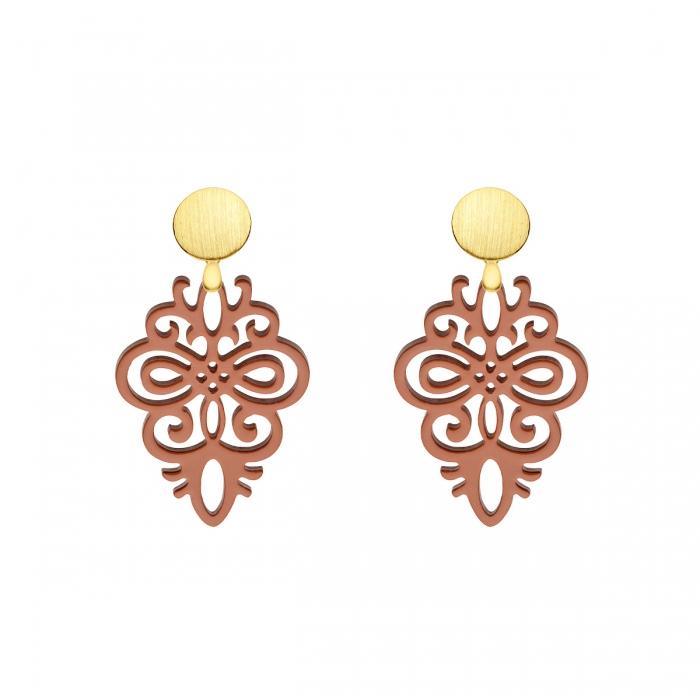 Ornament Ohrringe aus Horn mit vergoldeten 925er Silberstecker aus der Saona Kollektion
