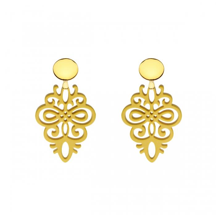 Ohrringe gelb aus Horn mit Ornamenten und Goldstecker aus der Saona Kollektion von Romy North