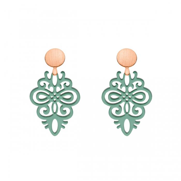 grüne Ohrringe aus Horn mit Rosestecker aus der Saona Kollektion von Romy North