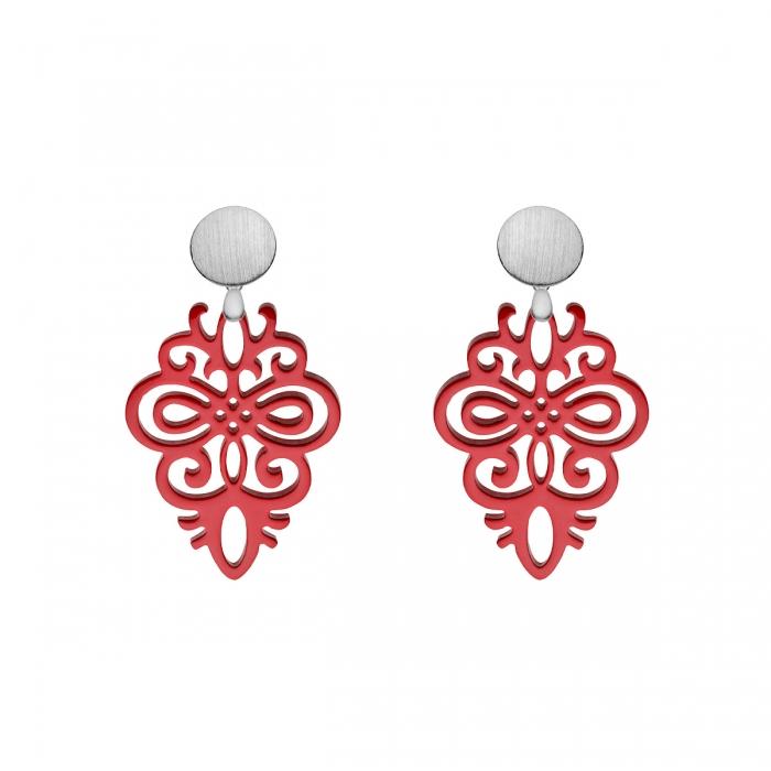 Rote Ohrringe aus Horn mit matte Silberstecker aus der Saona Kollektion von Romy North