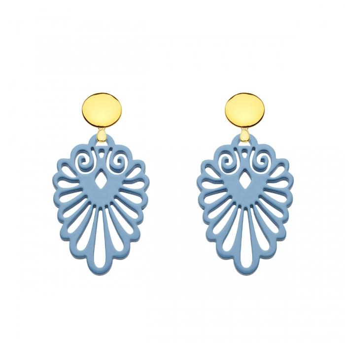 Federleichte Ohrringe blau mit Goldstecker aus der Sumatra Kollektion von Romy North