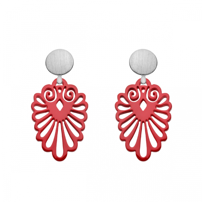 Rote Ohrringe mit Wechselsystem aus der Sumatra Kollektion von Romy North