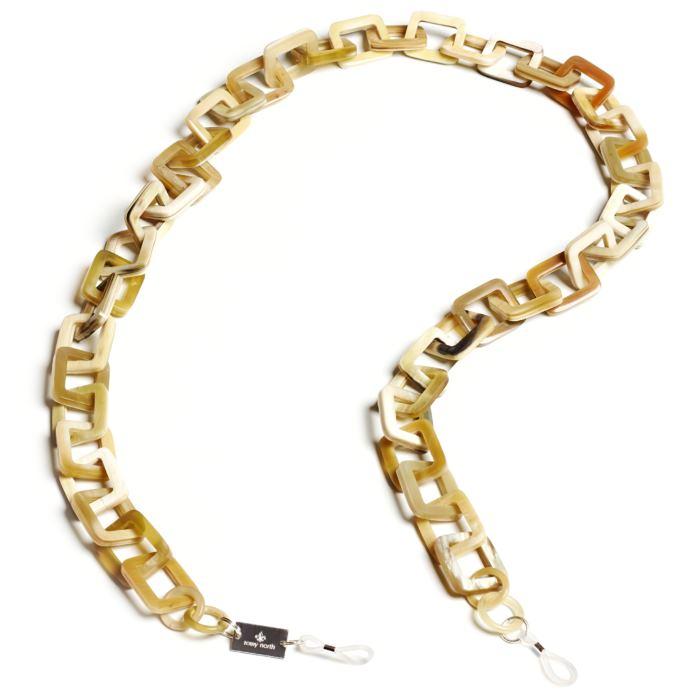 brillenkette aus hellem Horn it quadratischen Gliedern