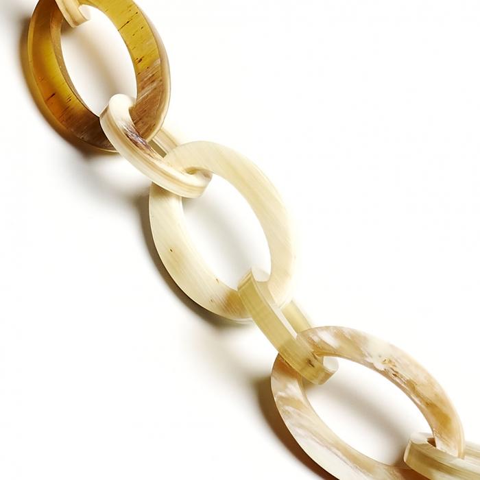 Brillenkette mit ovalen Gliedern aus Horn Romy North