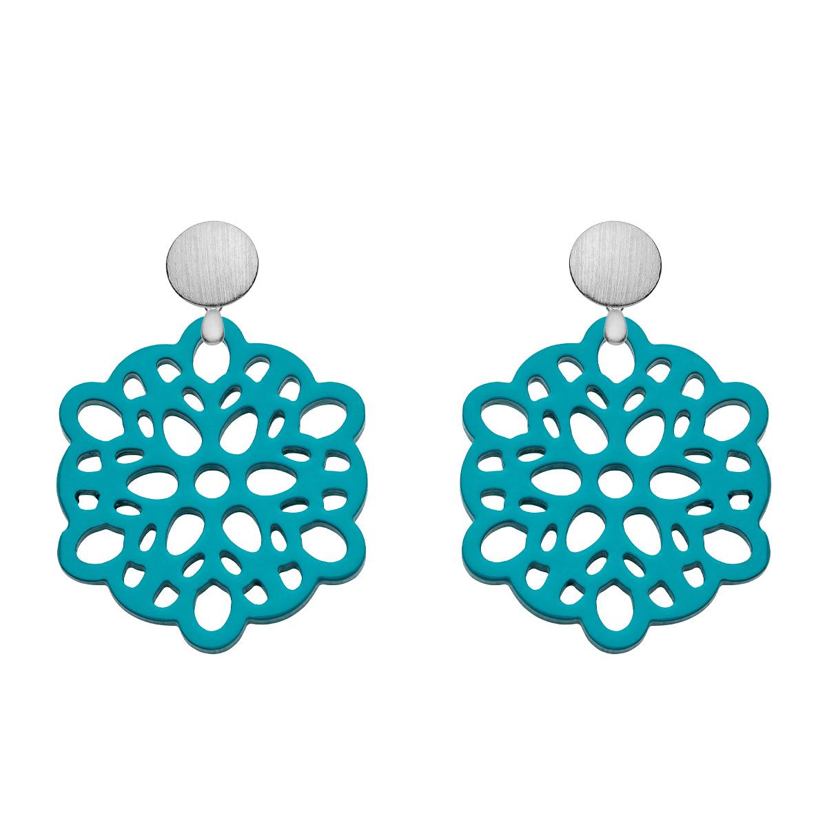 Ohrringe Türkis aus Horn rund mit Ornamenten mit matten Silberstecker