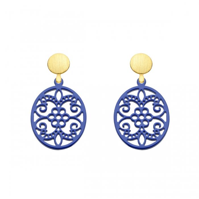 Ovale Ohrringe violett mit verspielten Ornamenten aus Horn aus der Hawaii Kollektion von Romy North