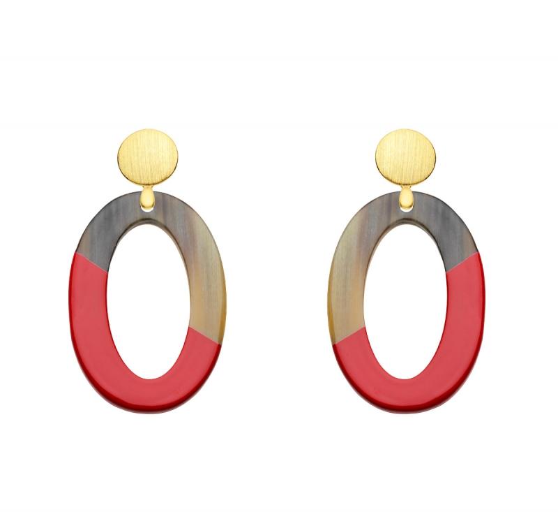 Rote Ohrringe oval mit vergoldetem Silber mit Hornanhänger aus der Banwa Kollektion von Romy North