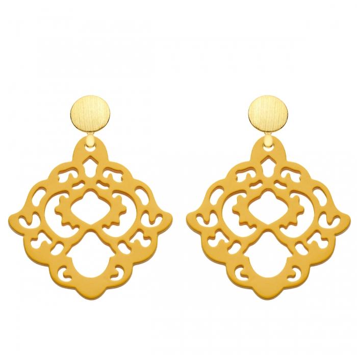 Ohrringe gelb aus Horn mit Goldstecker aus der Bora Bora Kollektion von Romy North