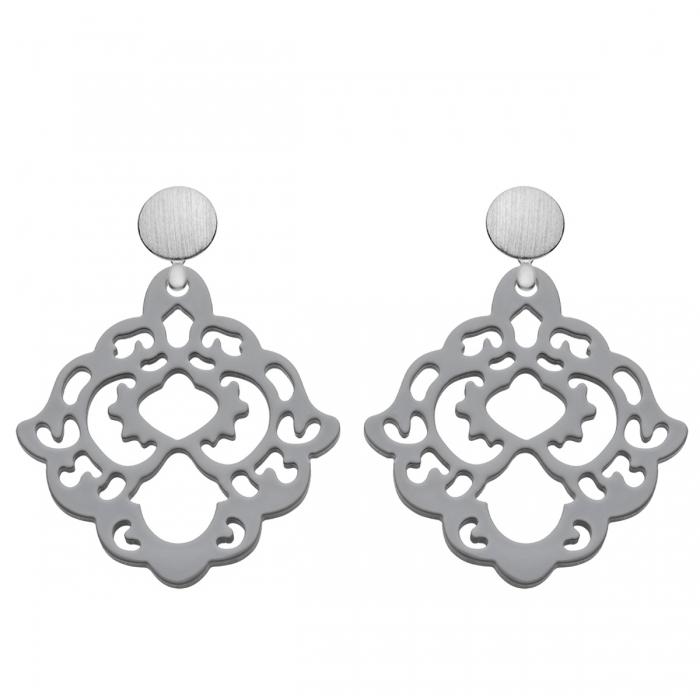 Ohrringe Grau aus Horn mit Ornamenten aus der Bora Bora Kollektion von Romy North