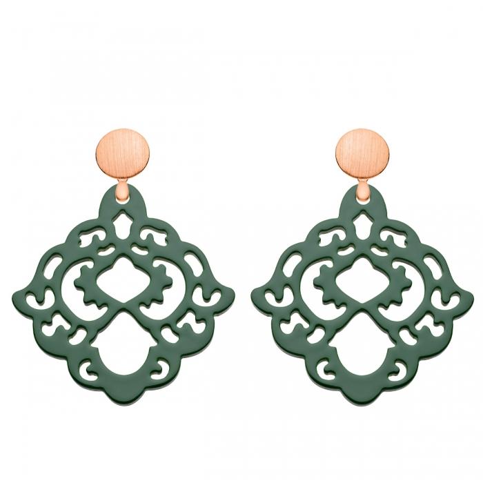 grüne Ohrringe aus Horn mit Rosestecker aus der Bora Bora Kollektion von Romy North