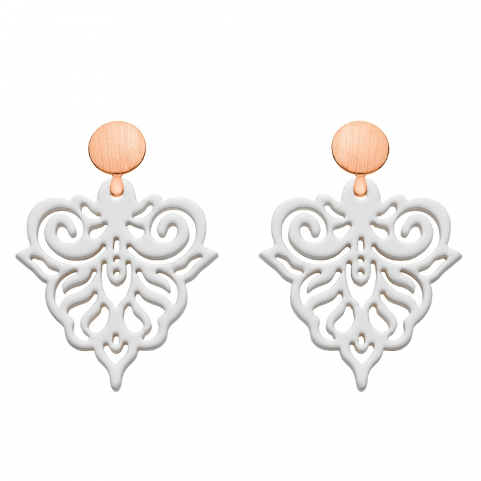 Ohrringe Weiß mit Rosestecker aus der Cacoa Kollektion von Romy North