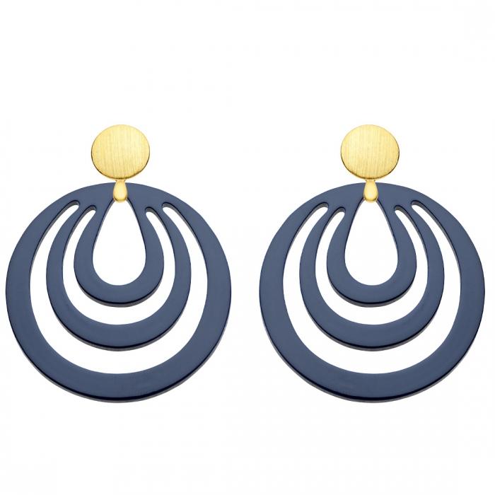 Ohrringe rund aus Horn in Blau aus der Caladesi Kollektion von Romy North