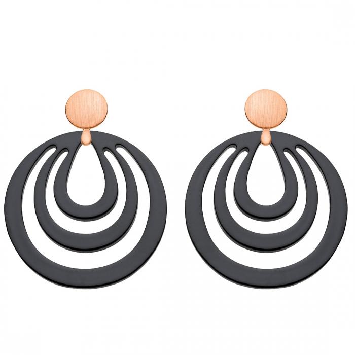 Runde Ohrringe schwarz aus Horn mit matten Rosestecker aus der Caladesi Kollektion von Romy North