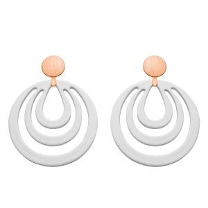 Ohrringe in Weiß aus Hornmit Rosestecker aus der Caladesi Kollektion von Romy North