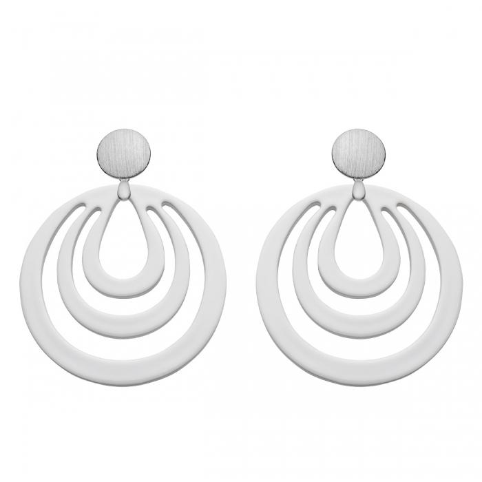 runde Ohrringe in Weiß aus Horn aus der Caladesi Kollektion von Romy North