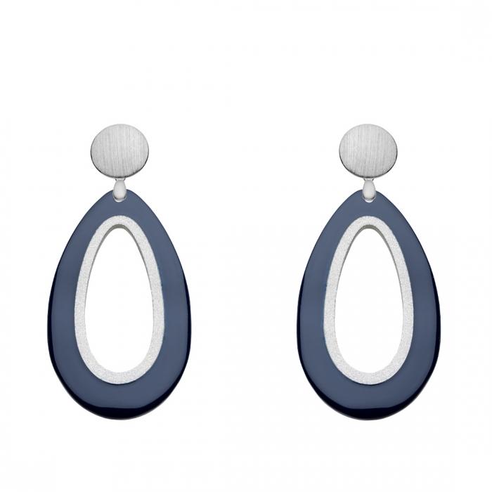 Tropfen Ohrringe aus Horn in Blau und Silberstecker aus der Calala Kollektion von Romy North