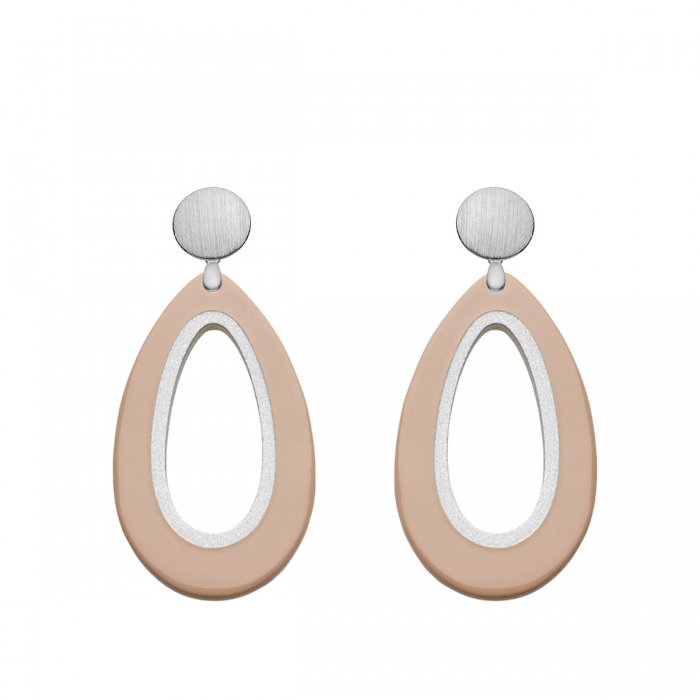 Tropfen Ohrringe in neutralem Beige aus Horn mit Silberstecker aus der Calala Kollektion von Romy North