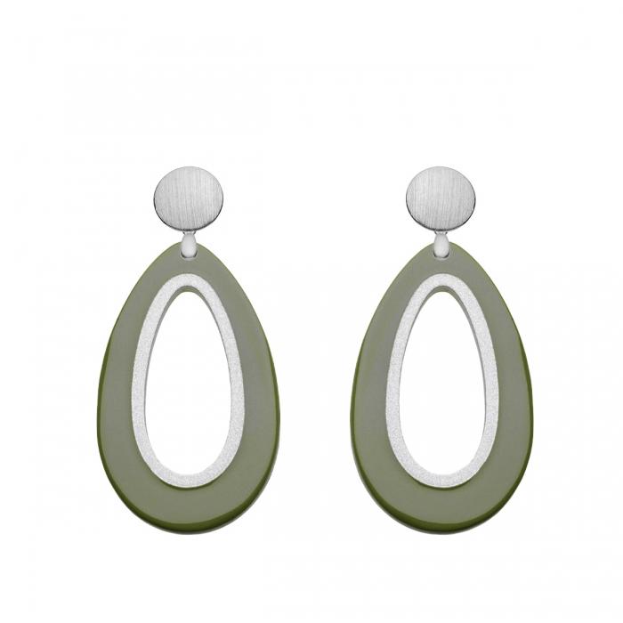 Ohrringe Olivgrün mit Silberstecker aus der Calala Kollektion von Romy North