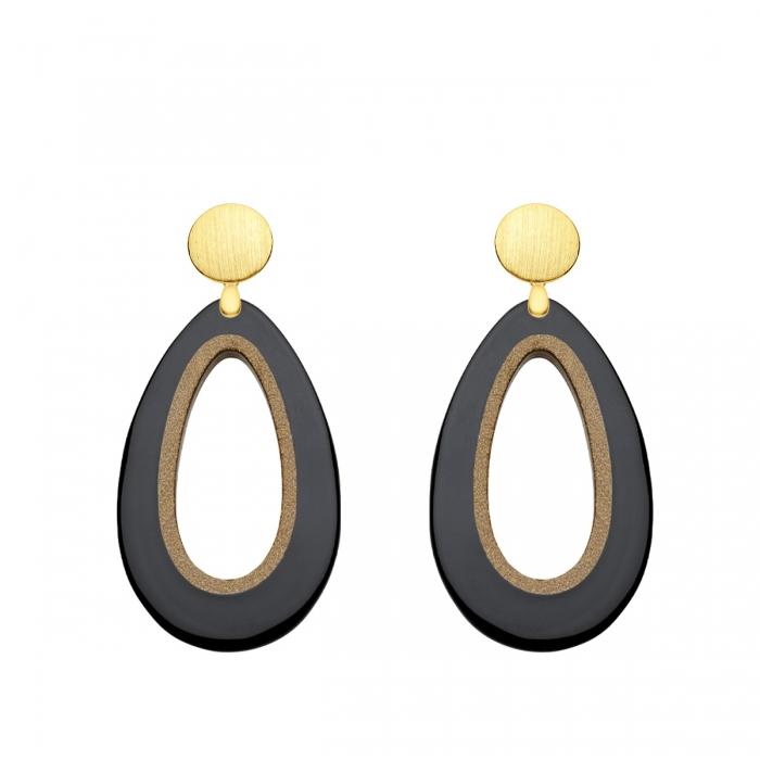 Tropfen Ohrringe aus Horn in Schwarz mit matten Goldstecker aus der Calala Kollektion von Romy North