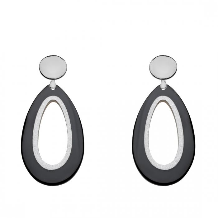 Tropfen-Ohrringe aus leichtem Horn in Schwarz mit Silberstecker aus der Calala Kollektion von Romy North