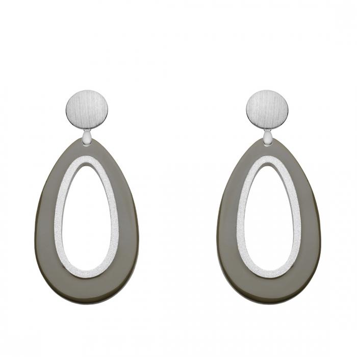 Tropfen-Ohrringe Olivgrün aus Horn mit Silber aus der Calala Kollektion von Romy North