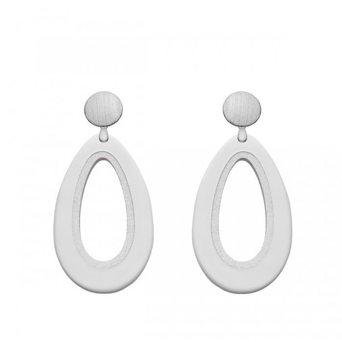 Ohrringe Tropfenform aus Horn in Weiß und Silber aus der Calala Kollektion von Romy North