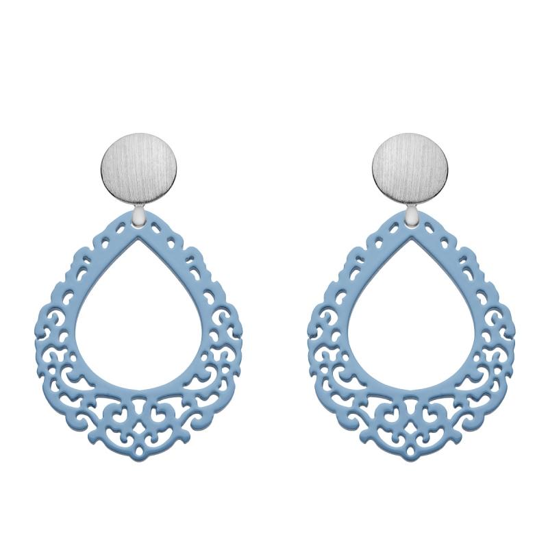 Blaue Ohrringe Tropfenform aus Horn mit Wechselsystem in Silber aus der Salina Kollektion von Romy North