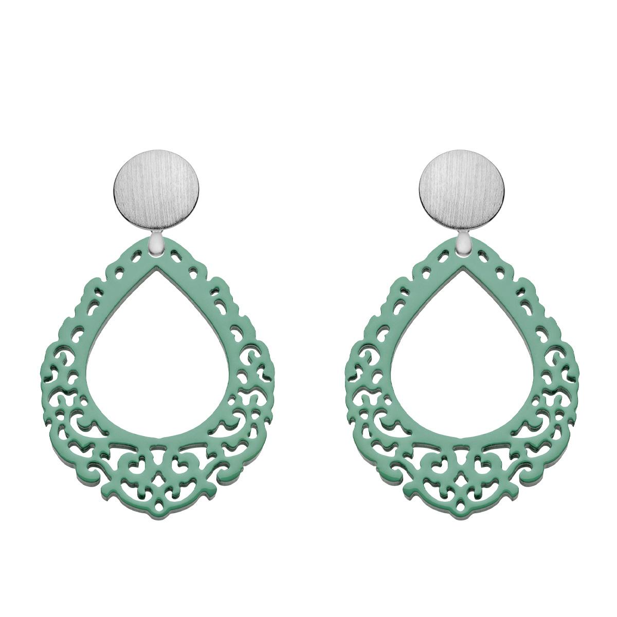 Ohrringe Jade aus Horn in Tropfenform mit silbernem Wechselsystem aus der Salina Kollektion von Romy North