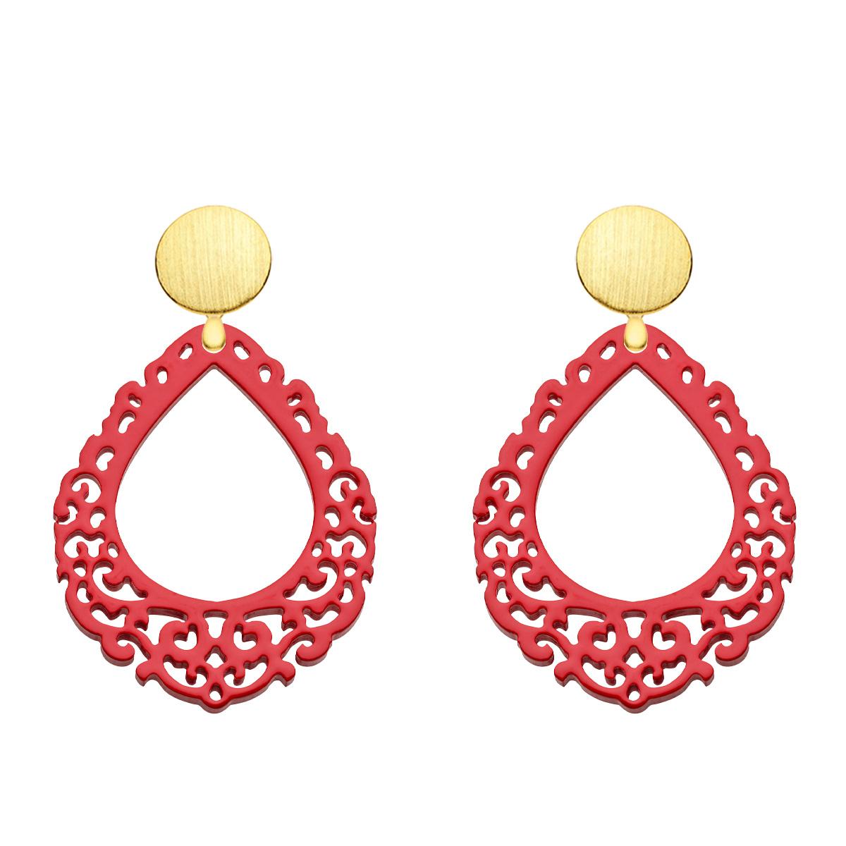 Ohrringe Rot aus Horn mit Wechselsystem in Gold aus der Salina Kollektion von Romy North