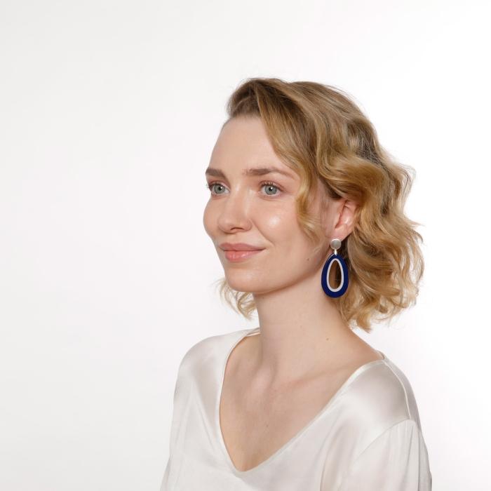 Ohrringe Silber Blau in Tropfenform aus Horn von Romy North