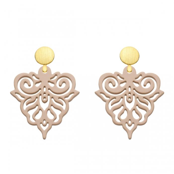 Ohrringe Beige mit Ornamenten aus Horn aus der Cacoa Kollektion von Romy North