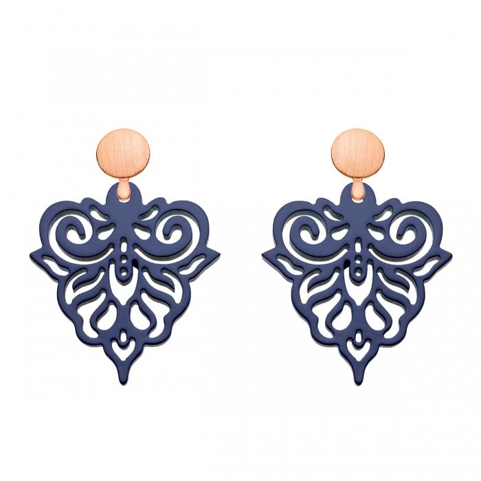 Edle Ohrringe blau aus Horn mit Rosestecker aus der Cacoa Kollektion von Romy North
