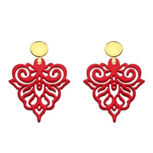 Rote Ohrringe mit verspielten Ornamenten aus Horn