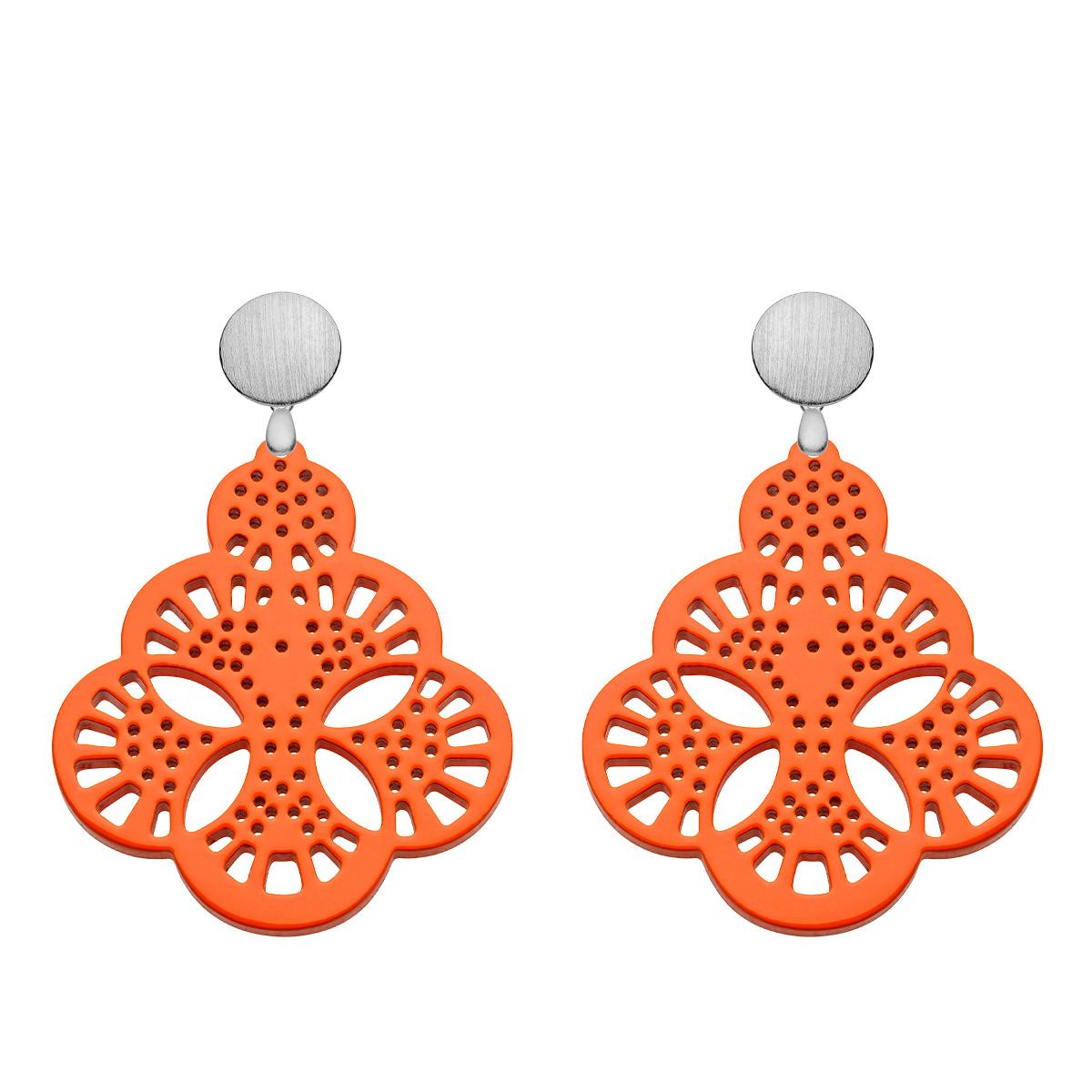Orange Ohrringe in Tropfenform aus Horn mit satinierte Silberstecker aus der Capri Kollektion von Romy North
