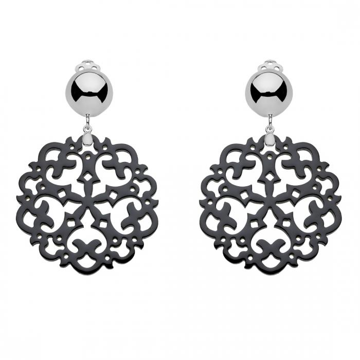 Ohrclips schwarz mit Silber aus Horn mit Ornamenten von Romy North