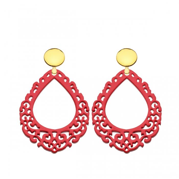 Edle Statement Ohrringe rot aus Horn mit Goldstecker aus der Salina Kollektion von Romy North