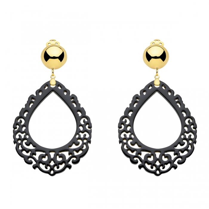 Ohrringe schwarz mit Goldclips in verspielter Tropfenform aus geschnitztem Horn aus der Salina Kollektion von Romy North